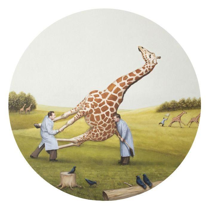 艺术家把「人类的丑陋面」绘成深度讽刺画作 北极熊VS黄色小鸭 -5b2227e637c64
