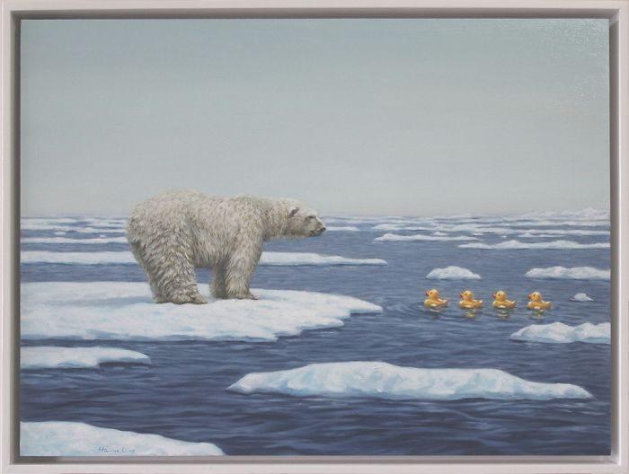 艺术家把「人类的丑陋面」绘成深度讽刺画作 北极熊VS黄色小鸭 -5b2227e7bca86
