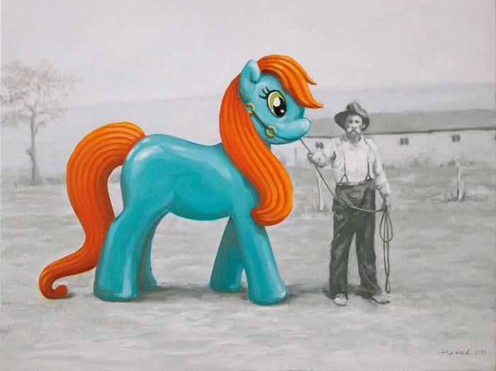 艺术家把「人类的丑陋面」绘成深度讽刺画作 北极熊VS黄色小鸭 -5b2227ea67164