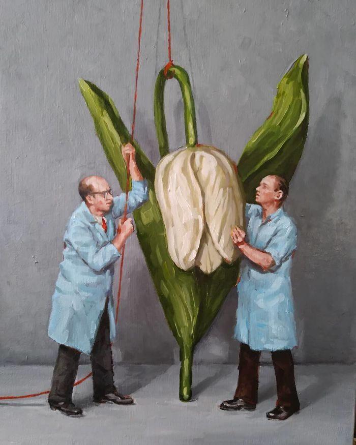 艺术家把「人类的丑陋面」绘成深度讽刺画作 北极熊VS黄色小鸭 -5b2227f242a72