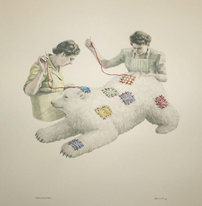 艺术家把「人类的丑陋面」绘成深度讽刺画作 北极熊VS黄色小鸭 -5b2227f67ad9a