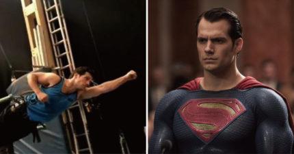 超人起飛瞬間帥到掉渣 拿掉特效後根本「外國吊嘎阿北」吊鋼絲耶~