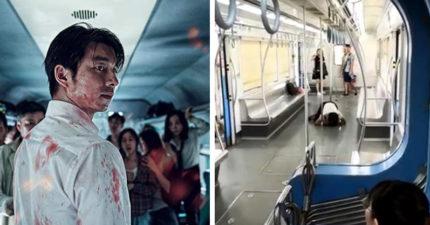 影/女發狂啃食男乘客臉 「趴地舔血」上演真實版《屍速列車》!