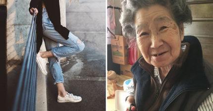阿嬤心疼孫女牛仔褲有破洞 貼心縫補出「超強時尚感成品」