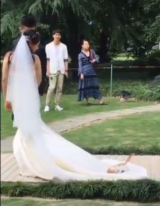 小橘喵熱愛婚紗狂打滾 小跑步緊跟新娘不放:鼻要一直走嘛~