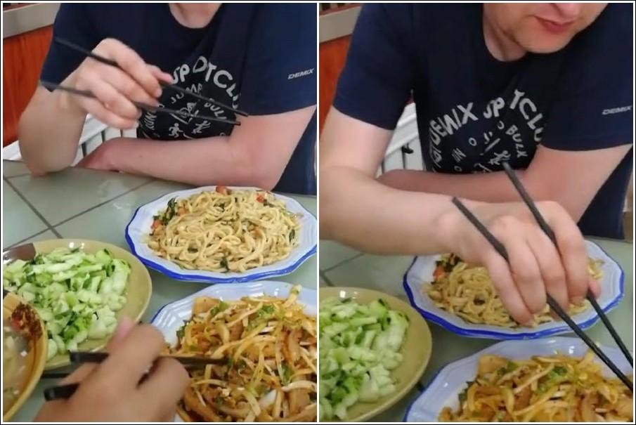 影/老外謎樣「筷子拿法」亞洲人全看傻 五爪全用上:根本金鋼狼啊!