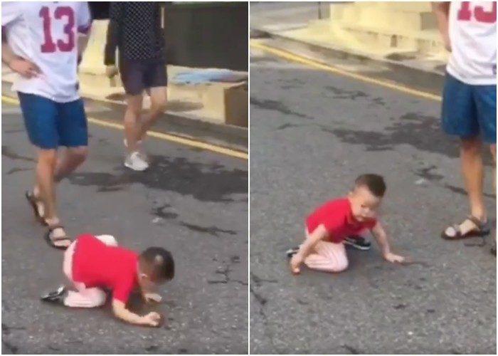 小男孩走路突跌倒 下秒超機靈反應完全「演技派影帝」!