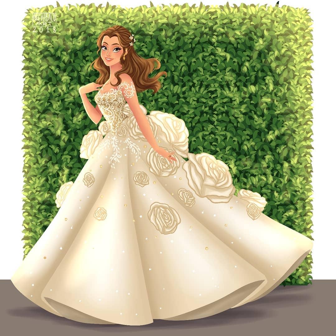 當迪士尼公主穿上「現代風絕美婚紗」 貝兒美到讓人想婚了♥