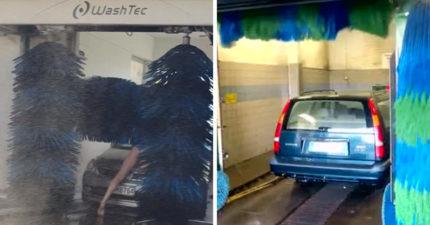 洗車驚見男子趴在引擎蓋上 全身光光「任由刷子拍打」:我也來洗個澡~