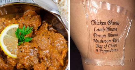 到底有多狂!小哥愛印度菜 愛到把「餐廳菜單刺在身上」