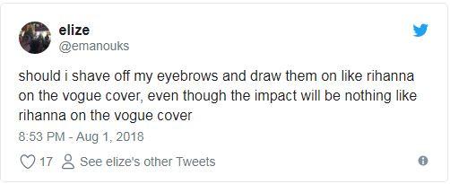 粗眉out~蕾哈娜「一筆劃極細眉」爆紅 超狂風格直接顛覆時尚圈!
