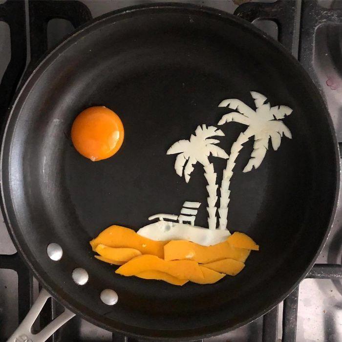 平底鍋當畫布 用蛋白、蛋黃創作「可口煎蛋藝術」(31張)