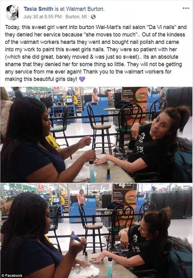 腦麻女「手抖不停」美甲師不願服務 暖心超市店員親自幫擦:每個人都有變美的權利!