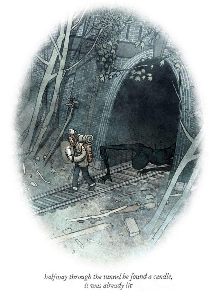 20張「勾出你內心深處恐懼」的漫畫 黑暗中的房間不是只有你一人...
