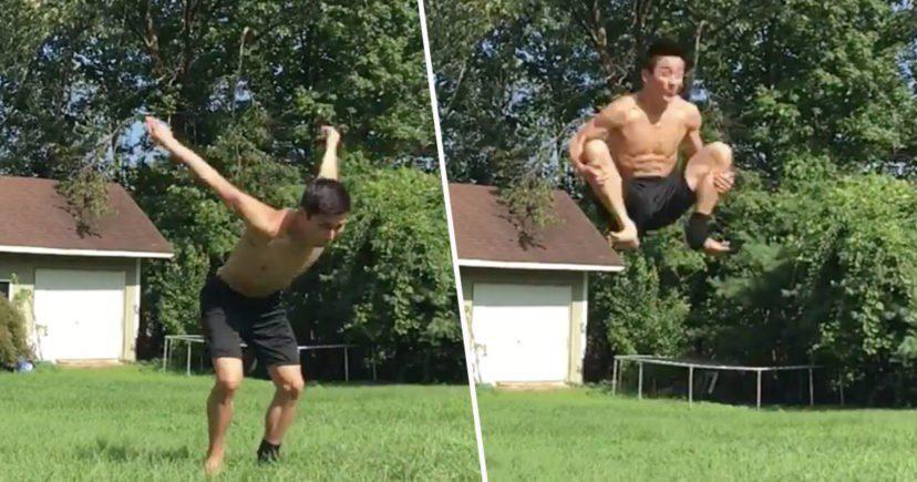 這真的是人類嗎?20歲帥哥打破人體極限 完成史上第一個原地「雙重後空翻」!