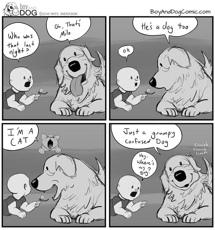 藝術家爸爸將「家中2寶」變4格漫畫 寶寶成功討食讓汪hen羨慕!