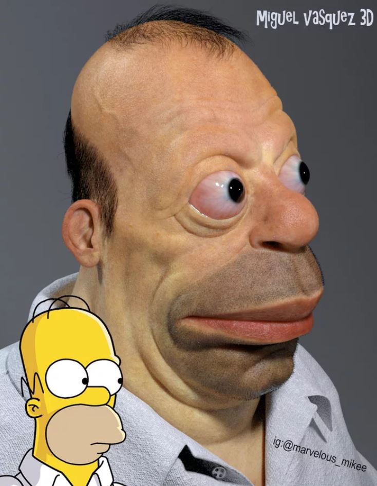 藝術家把動漫角色「真人3D化」 《海綿寶寶》絕對會讓人做惡夢啊QQ