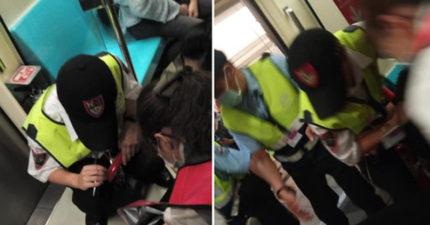 傷女跌坐北捷車廂 台灣最狂風景「接龍式輪椅支援」她大讚:我們其實很棒!