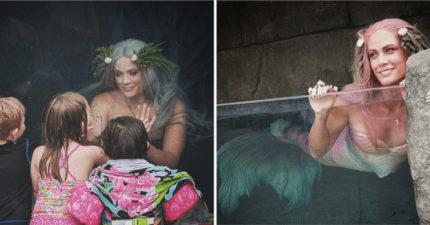 遊樂園把「真正美人魚」放櫥窗 孩子驚喊:愛麗兒是真的❤️️