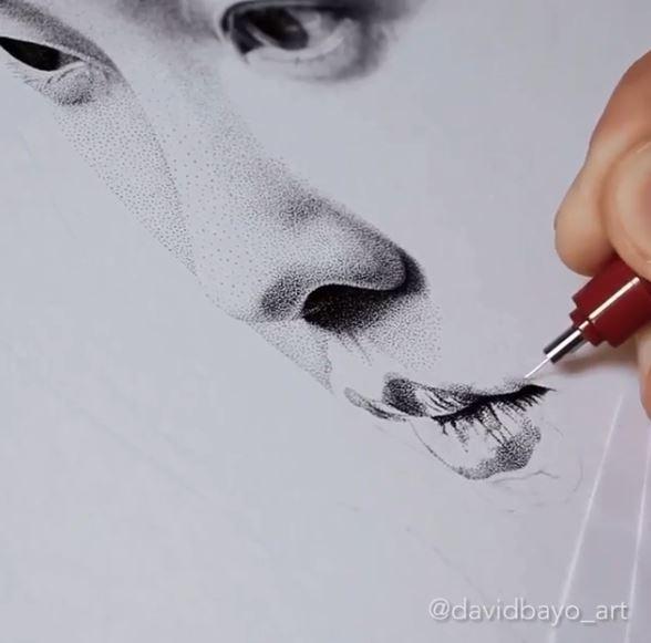 法國藝術家用「250萬個點」勾勒出完美肖像 眼神、陰影細膩到驚人!