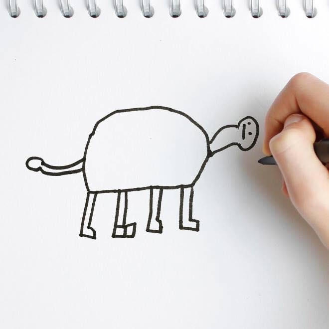 天才爸將孩子塗鴉「3D實體化」 有翅膀的長頸鹿獵奇又可愛❤