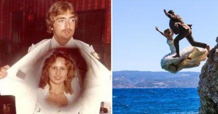 44張「完全不該被留下來」的超糗結婚照片 新娘坐推土機出場啦!