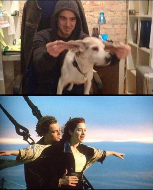 這位老闆做了「在公司唯一有用的事」 帶著厭世狗表演電影場景...員工勉強被療癒到一點點