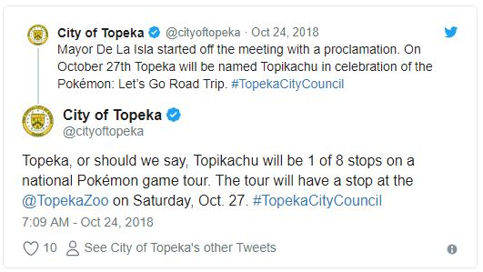 托皮卡市長也是寶可夢鐵粉!拍板直接改名「托皮卡丘市」:一定很好玩~
