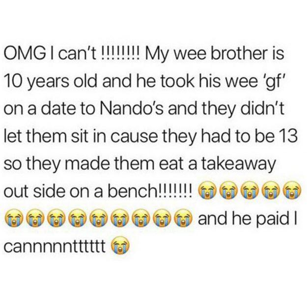 10歲小弟牽女友到速食店約會 店員收錢後趕出門...小倆口門口淚嗑整桶炸雞