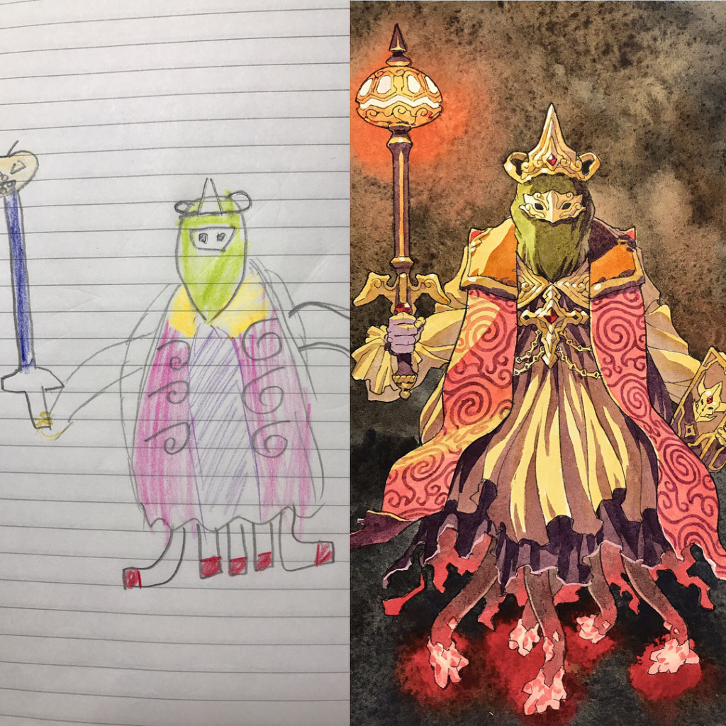 畫家把兒子塗鴉升級成帥氣角色 「雙面國王」根本可以拍電影了