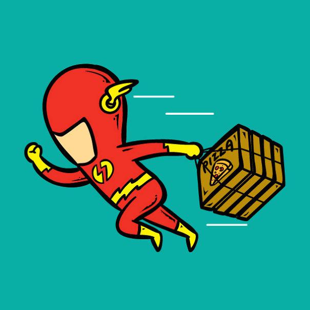 「超級英雄失業了」該怎麼活下去!閃電俠跑去送外賣 蝙蝠俠爽爽躺著看電視:林北有錢啊~