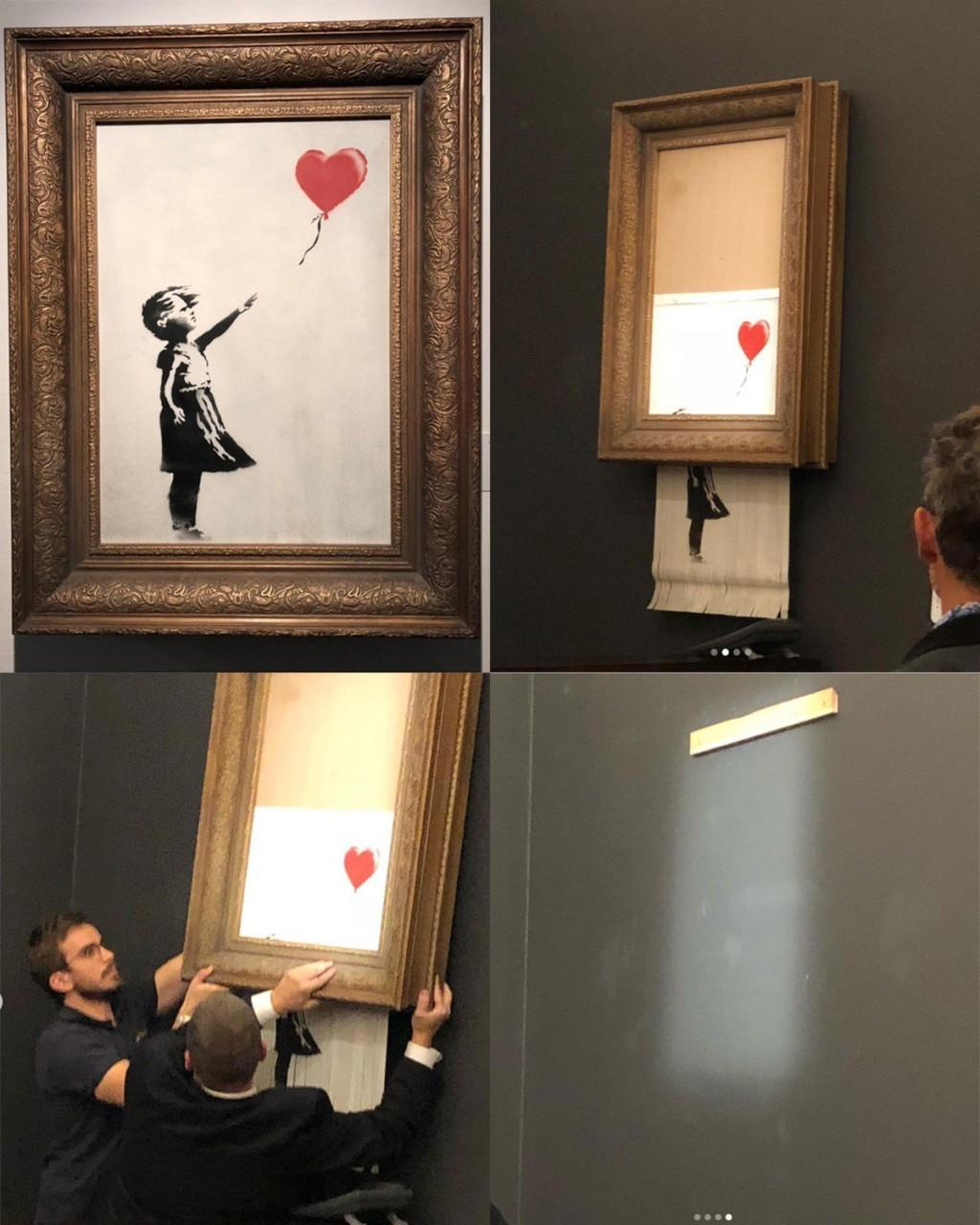 喊價結束一刻變碎紙!塗鴉大師Banksy設機關「自毀4000萬名畫」 主管:他真的是天才