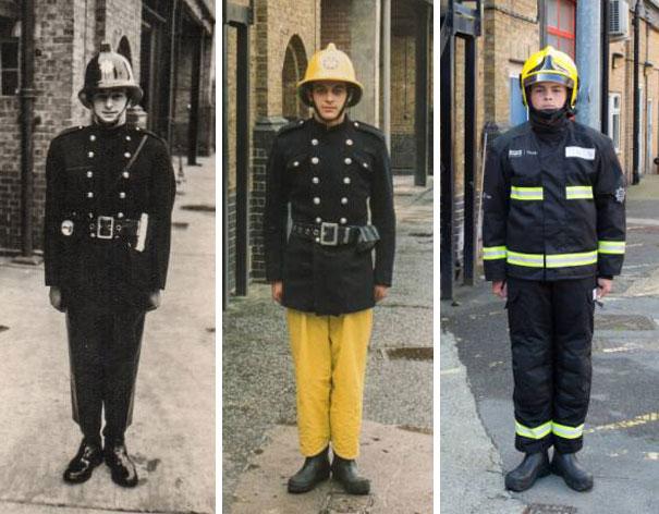 20張紀念老一輩的「現在與過去合成照」 祖孫三代穿著不同樣式的超帥消防服!