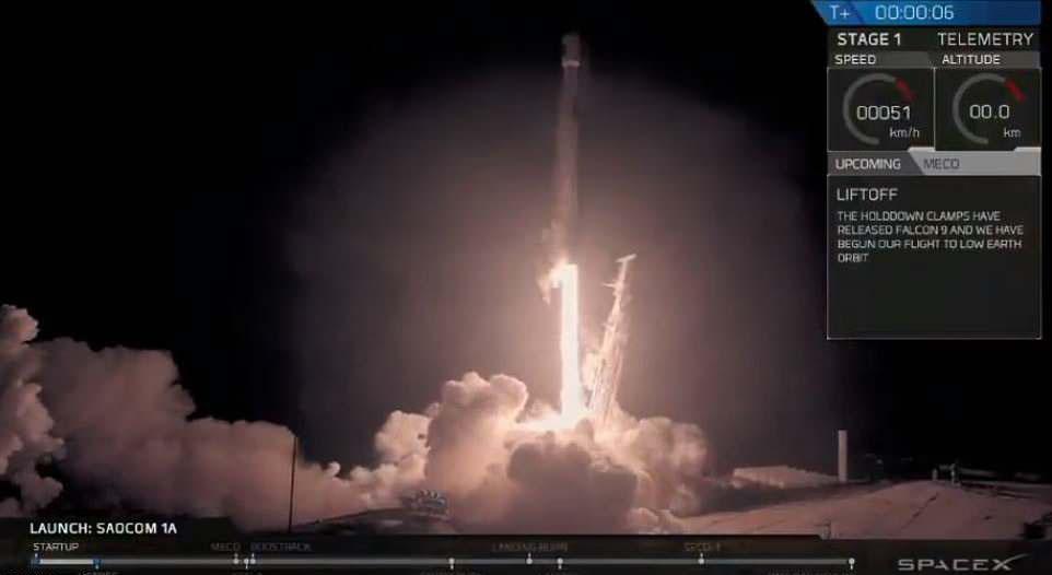 影/獵鷹9號火箭升空!發射瞬間形成絢爛火花 超唯美畫面宛如《你的名字》❤