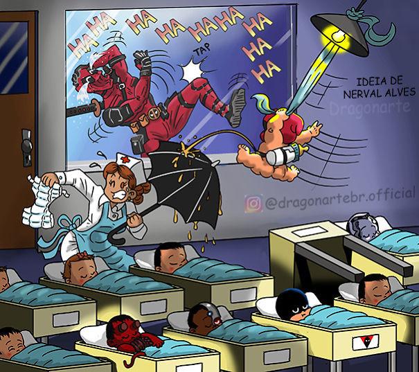 當超級英雄「都當了老爸」 11張寫實漫畫透露:寶寶還沒長大先毀掉醫院XD