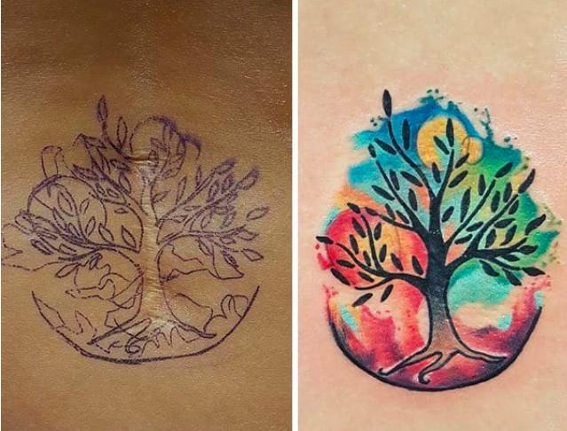 10個「將醜陋疤痕化為藝術」的超可愛刺青 橫跨脊椎的慘白凹痕開花了♥