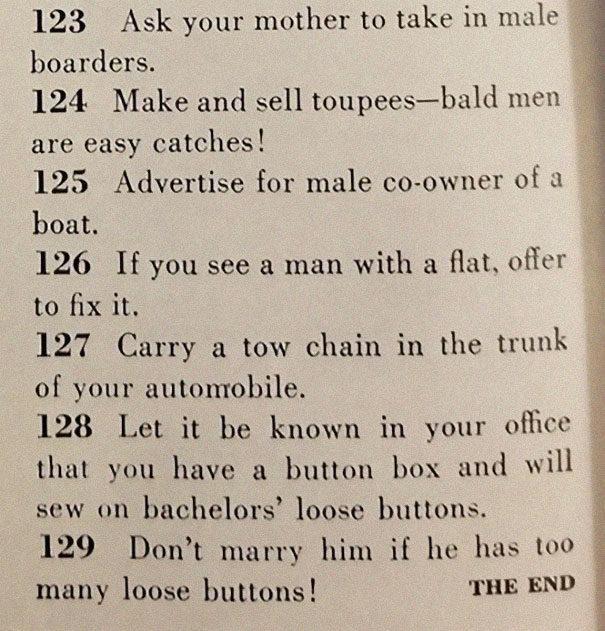 1958年老雜誌描述「129種獲得老公的方法」:世界變很多