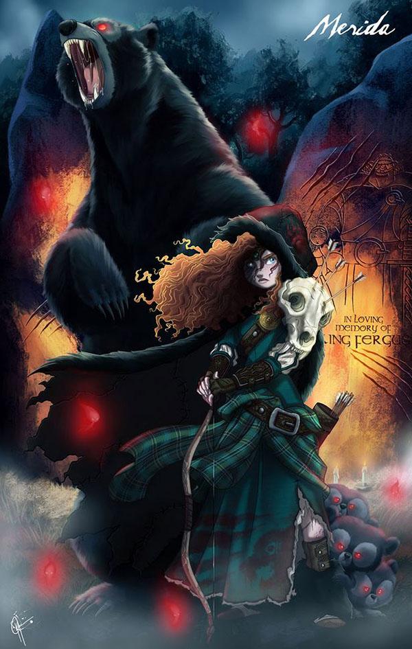 15位「被邪靈附身版」迪士尼公主 當白雪公主遛著7個怨靈矮人...