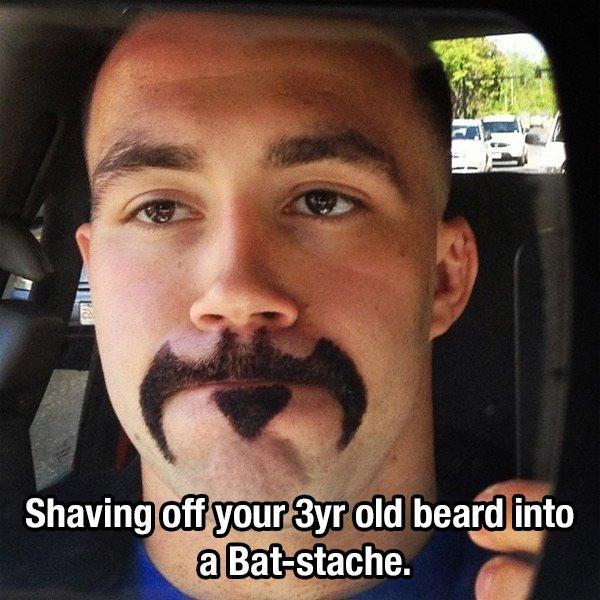 16個沒膽子不要亂打賭的「超慘結果」 留3年的鬍子被剃成蝙蝠俠形狀了
