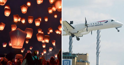 超狂天燈飆6100m「和飛機擦過」 僅差30cm「天空就爆成兩團火球」...機組背瞬間濕