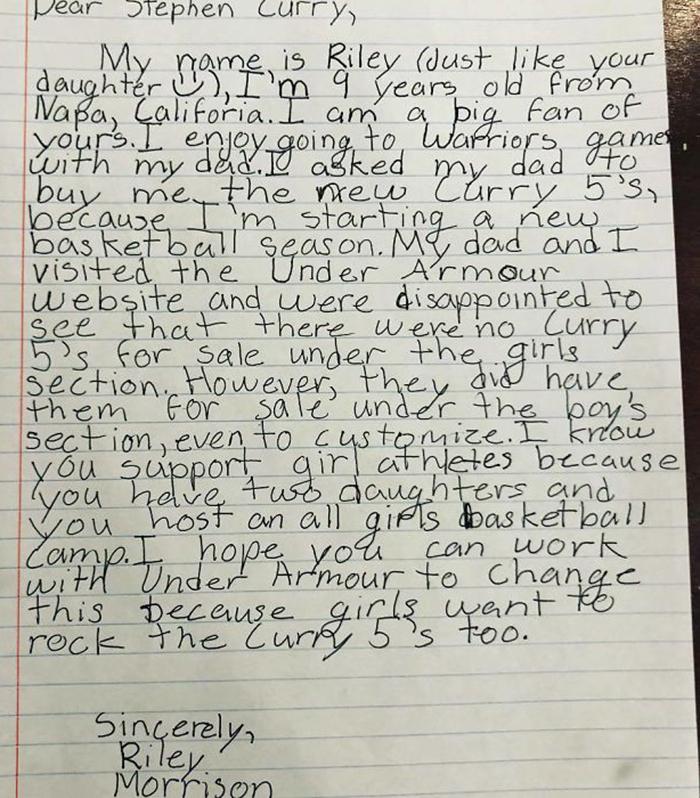 NBA球星旗下球鞋「沒有女生尺寸」...9歲女孩寫信投訴 竟得到全球粉絲超羨慕「霸氣回應」