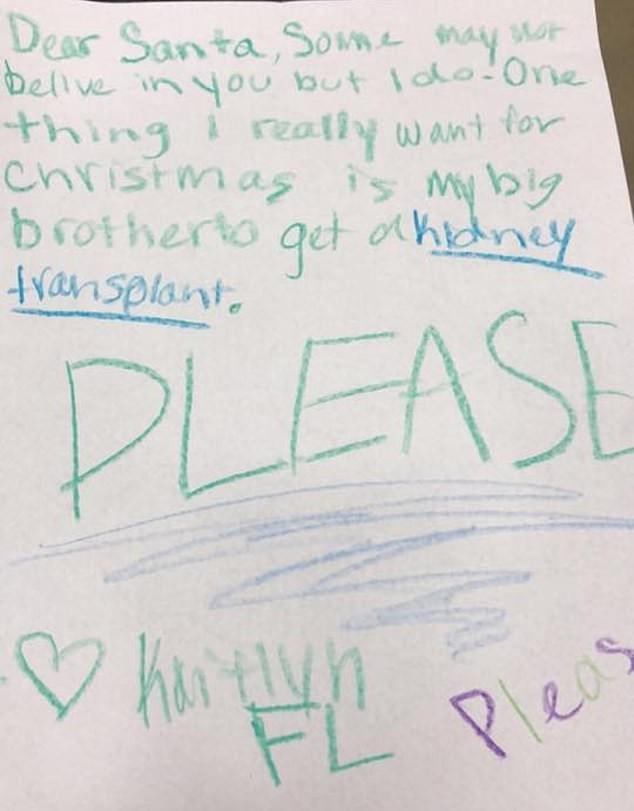 捨不得看哥哥每天進醫院...天真妹妹寫信聖誕老公公 今年的禮物「請給我一顆腎吧!」