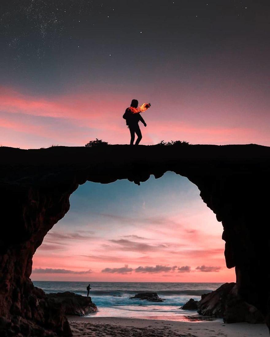 19歲男孩靠修圖「把腦洞變成現實」 為天空填上顏色的畫面...實在太夢幻!