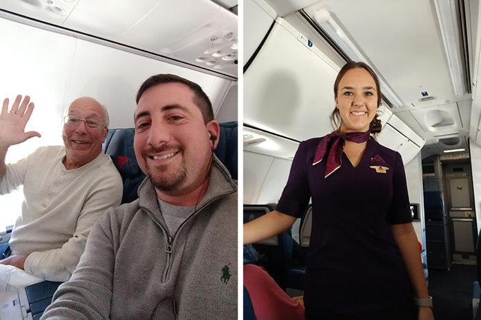 白髮阿伯連坐6航班!乘客好奇問「超正空姐女兒現身」真相直接閃瞎全網❤