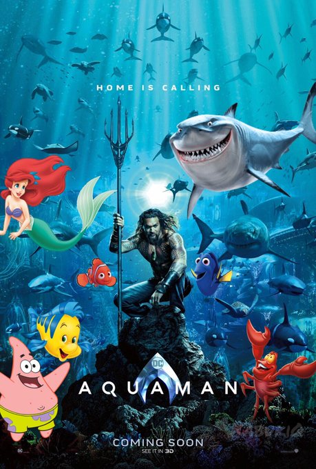 《水行俠》電影海報被玩壞!連《小美人魚》都來客串 《巨齒鯊》版本讓人莫名期待啊♥