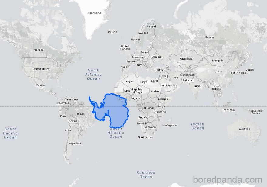 世界地圖都是假!15張「讓你想重修地理課」的地圖對比照 澳洲竟可以覆蓋整個歐洲!