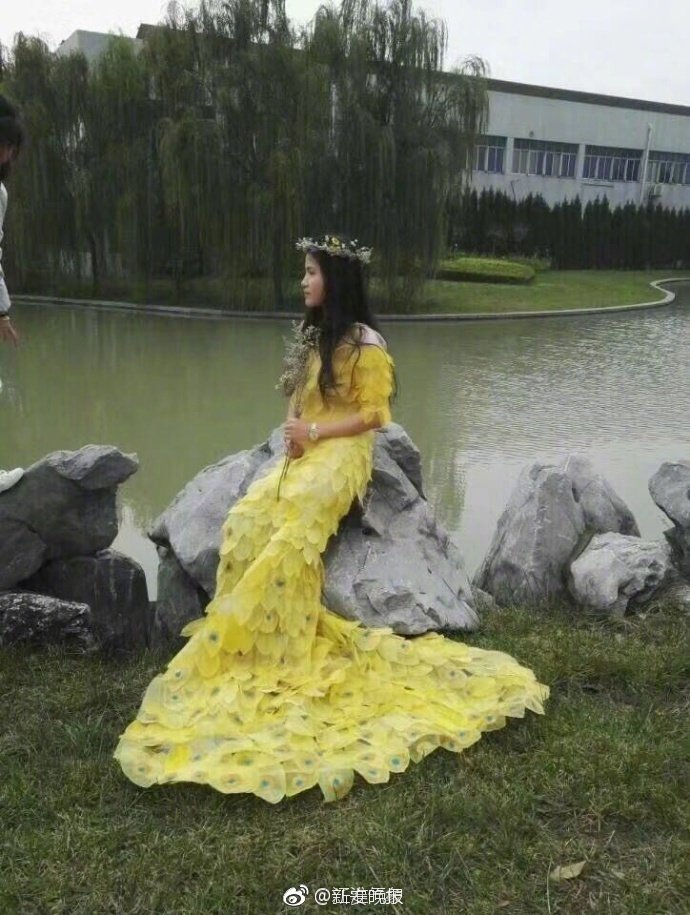 創意大學生收集6000片葉子 花6個月做出「范冰冰龍袍禮服」成品比本尊穿的更美!