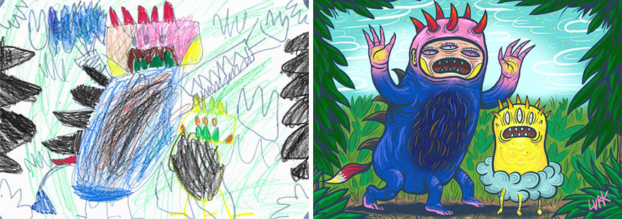 當「孩子的亂筆塗鴉」遇上藝術大師 紙上小怪獸→3D夢幻寵物...好想養一隻!