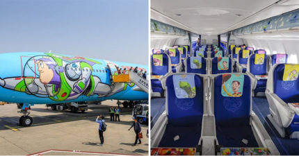 東方航空超夢幻「玩具總動員班機」!天花板超大熊抱哥揮手 跟著巴斯一起「飛向宇宙」♥