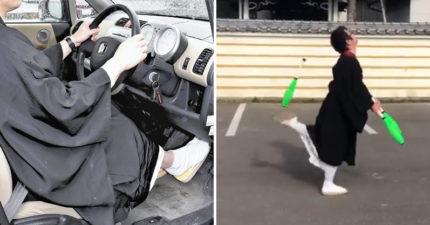 幽默片/僧侶穿袈裟開車被「開罰單起訴」 為證明無罪「拍專業級雜耍片」:我們超靈活~
